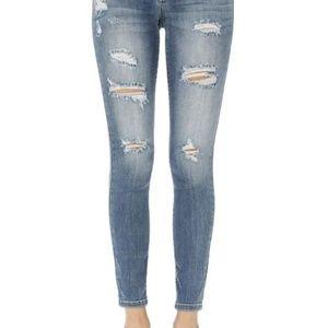 Denim - Judy Blue Mid Rise Distressed Denim Jeans